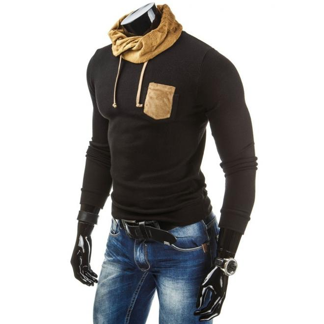 Pánsky čierny sveter s vreckom na hrudi