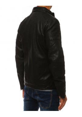 Pánska kožená bunda na prechodné obdobie v čiernej farbe