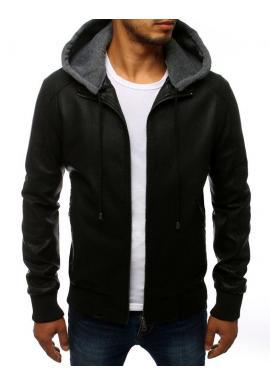Čierna kožená bunda s odopínacou kapucňou pre pánov
