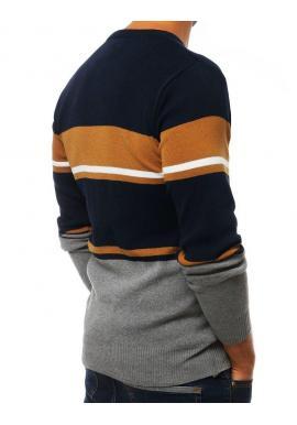 Tmavomodrý štýlový sveter s kontrastnými prvkami pre pánov