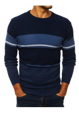 Štýlový pánsky sveter tmavomodrej farby s kontrastnými prvkami