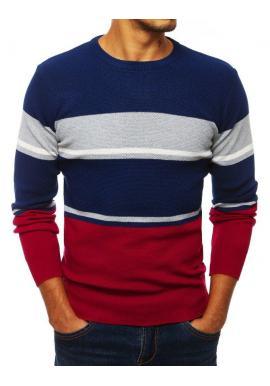 Modrý štýlový sveter s kontrastnými prvkami pre pánov
