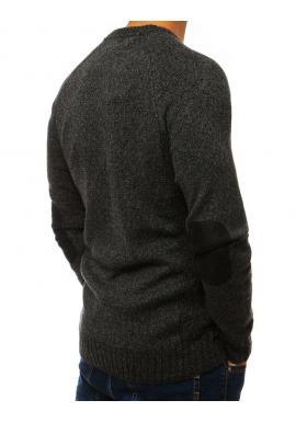 Pánsky módny sveter so záplatami na lakťoch v tmavosivej farbe