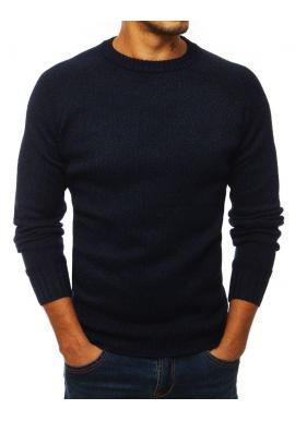 Módny pánsky sveter tmavomodrej farby so záplatami na lakťoch