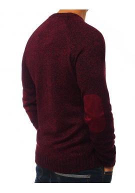 Bordový módny sveter so záplatami na lakťoch pre pánov