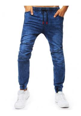 Modré módne Joggery s rifľovým vzhľadom pre pánov