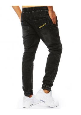 Štýlové pánske Joggery čiernej farby s rifľovým vzhľadom