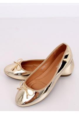 Metalické dámske balerínky zlatej farby s mašľou