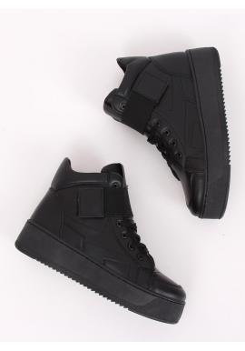 Dámske štýlové Sneakersy s vysokou podrážkou v čiernej farbe