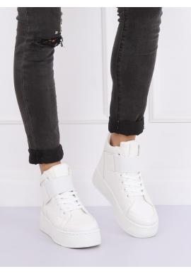 Štýlové dámske Sneakersy bielej farby s vysokou podrážkou