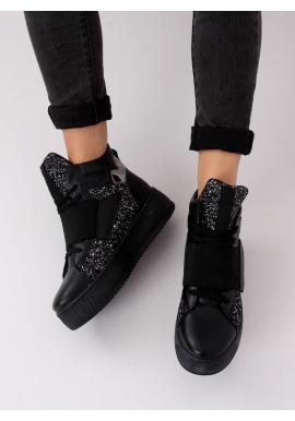 Čierne módne Sneakersy s vysokou podrážkou pre dámy