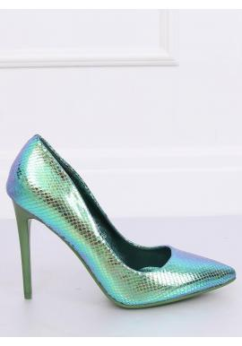 Holografické dámske lodičky modro-zelenej farby na štíhlom podpätku