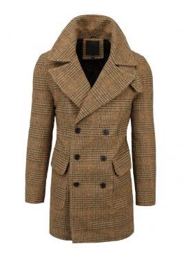 Pánsky dvojradový kabát s kockovaným vzorom v hnedej farbe