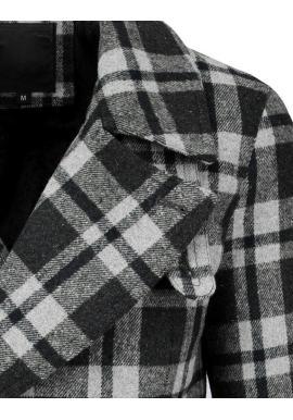 Dvojradový pánsky kabát sivej farby s kockovaným vzorom