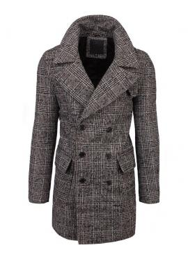 Hnedý dvojradový kabát s kockovaným vzorom pre pánov