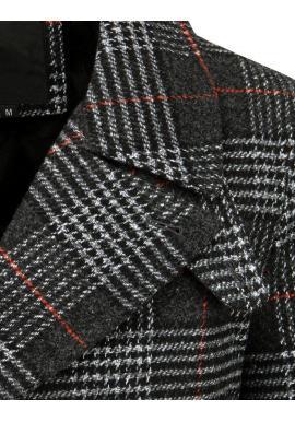 Pánske dvojradové kabáty s kockovaným vzorom v čiernej farbe