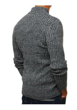 Pánsky štýlový sveter s golierom na gombíky v svetlosivej farbe