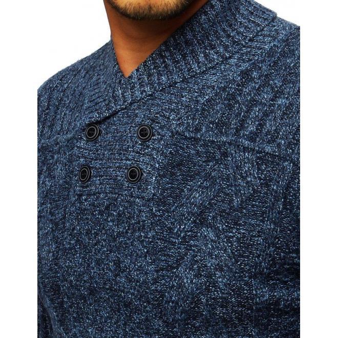 Modrý štýlový sveter s golierom na gombíky pre pánov