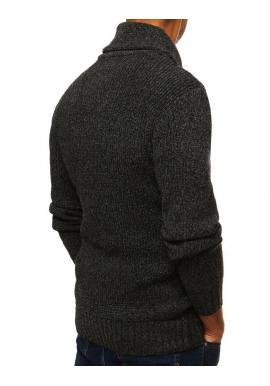 Pánsky módny sveter s vysokým golierom v tmavosivej farbe