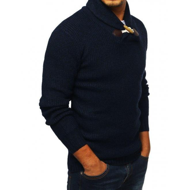 Módny pánsky sveter tmavomodrej farby s vysokým golierom