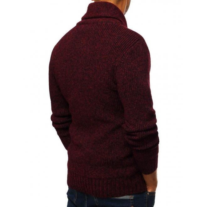 Bordový módny sveter s vysokým golierom pre pánov