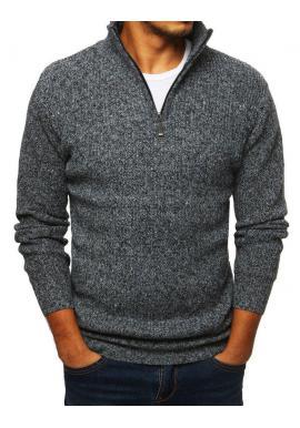 Pánsky melanžový sveter s vysokým golierom v sivej farbe