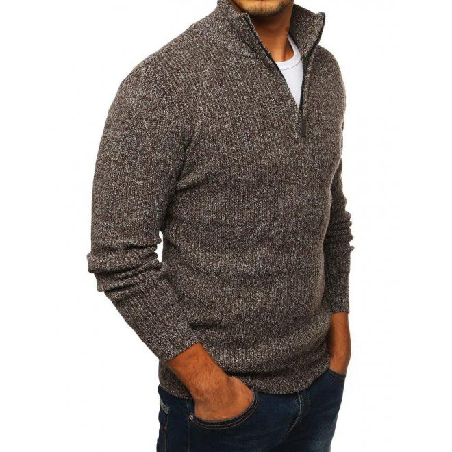 Melanžový pánsky sveter hnedej farby s vysokým golierom