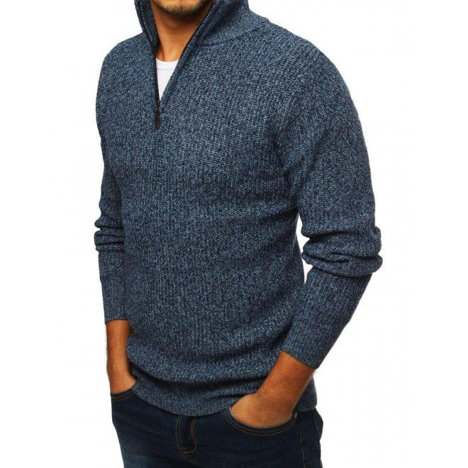 Modrý melanžový sveter s vysokým golierom pre pánov