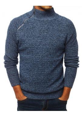 Pánsky melanžový sveter s vysokým golierom v modrej farbe