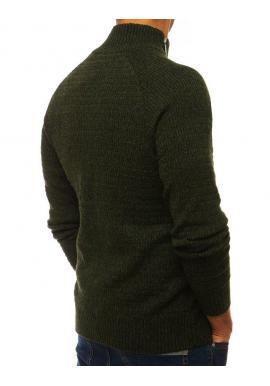 Melanžový pánsky sveter zelenej farby s vysokým golierom