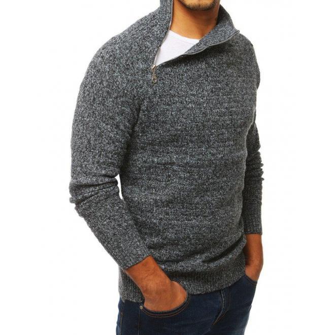 Sivý melanžový sveter s vysokým golierom pre pánov