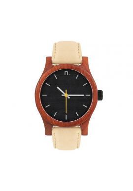 Dámske drevené hodinky s koženým remienkom v čierno-bielej farbe