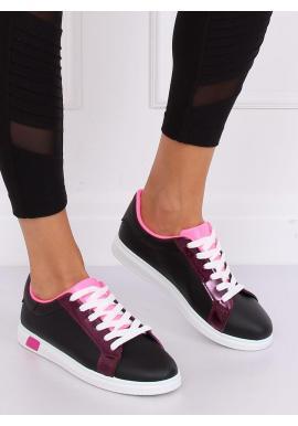Módne dámske tenisky čiernej farby s ružovými prvkami
