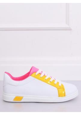 Biele módne tenisky so žltými prvkami pre dámy