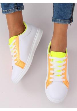 Módne dámske tenisky bielej farby s oranžovými prvkami