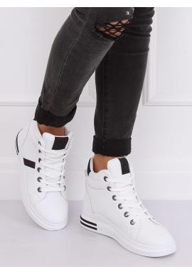 Dámske kotníkové Sneakersy s vysokou podrážkou v bielo-čiernej farbe