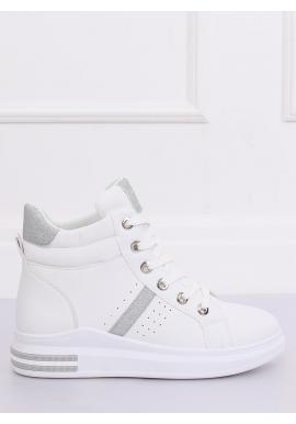 Kotníkové dámske Sneakersy bielo-striebornej farby s vysokou podrážkou