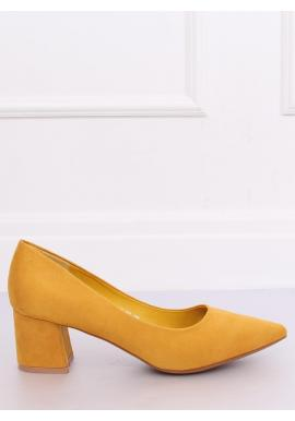 Žlté semišové lodičky na širokom opätku pre dámy
