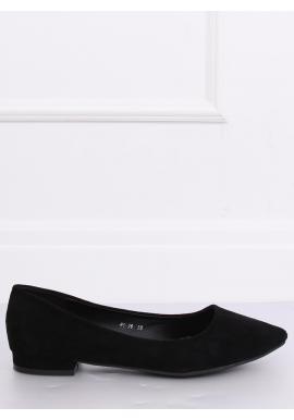 Semišové dámske balerínky čiernej farby na nízkom opätku