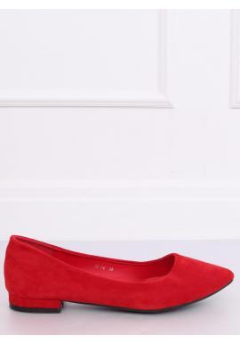 Dámske semišové balerínky na nízkom opätku v červenej farbe
