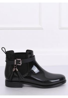 Čierne lakované gumáky so strapcami pre dámy
