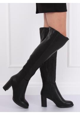Čierne módne čižmy nad kolená na podpätku pre dámy
