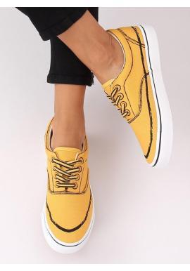 Štýlové dámske tenisky žltej farby s potlačou