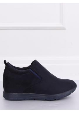 Dámske semišové topánky na skrytom opätku v tmavomodrej farbe