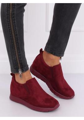 Semišové dámske topánky bordovej farby na skrytom opätku
