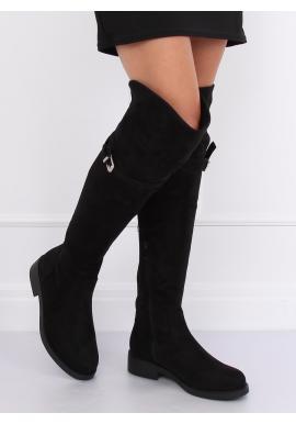Dámske semišové čižmy nad kolená s prackou v čiernej farbe
