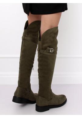 Zelené semišové čižmy nad kolená s prackou pre dámy