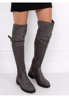 Semišové dámske čižmy nad kolená sivej farby s prackou