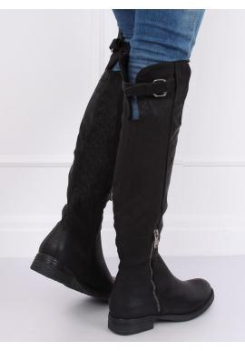 Dámske módne čižmy nad kolená v čiernej farbe