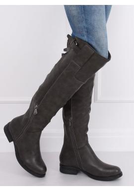 Sivé módne čižmy nad kolená pre dámy
